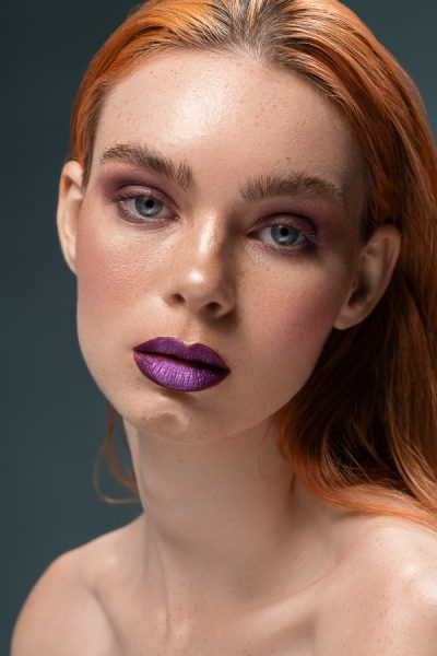 Summer with purple lips beauty portrait