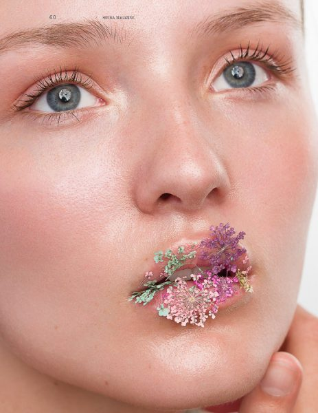 Beauty Editorial with Flower Lips