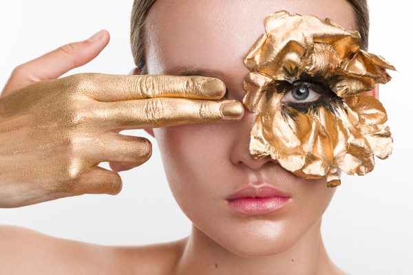 Golden flower eye makeup beauty photography