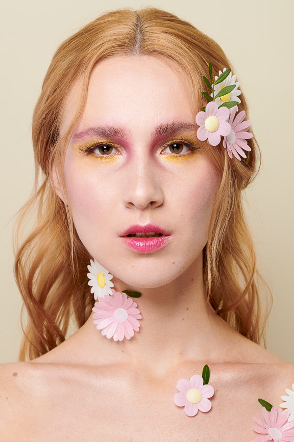 Spring Beauty Makeup Pink and Yellow